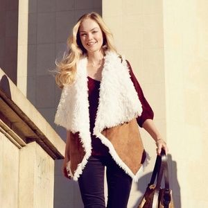 Anthropologie Elevenses Faux Shearling Sherpa Vest
